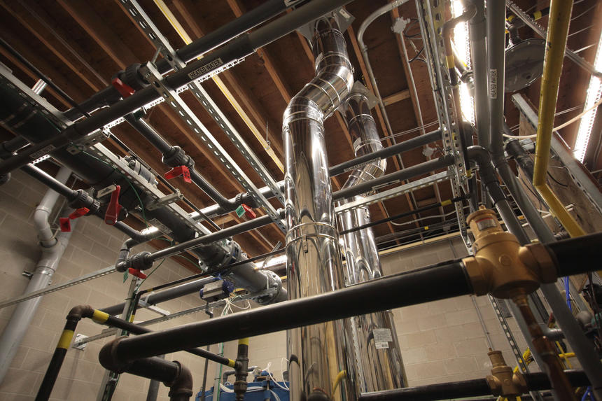 Mechanical Plumbing Project in London Ontario - Community swimming pool boiler room in London Ontario